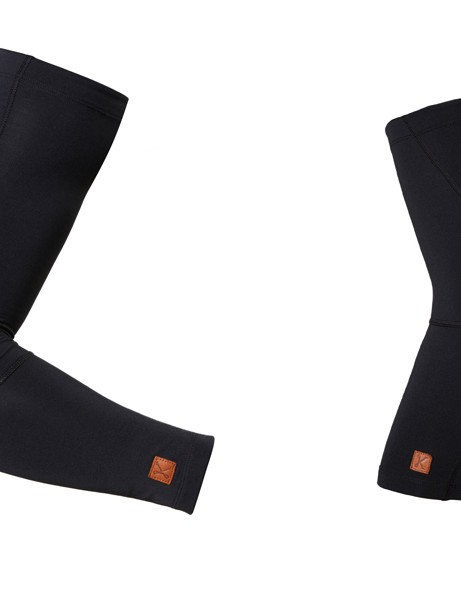 Kitsbow's arm and knee warmers are constructed from a blend of Merino wool, nylon and spandex. They softshell pannels on the knees and elbows for improved durability. Both the arm and knee warmers retail for $80