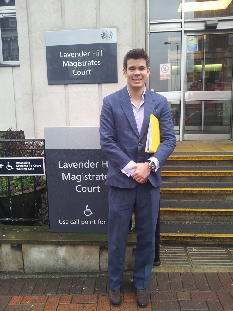 Alex Paxton leaving Lavender Hill Magistrates after an earlier hearing