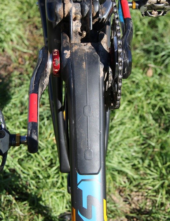 The Bronson also comes with a burly down tube guard to shield the carbon frame from rock strikes