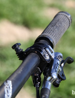 The way it should always be: RockShox Reverb remote mounted on the left side of the handlebar, with the lever positioned under the bar so we never had to move our thumb far from the grip