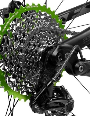 OneUp components has developed a 42-tooth cog that mounts to many Shimano and SRAM 10-speed cassettes