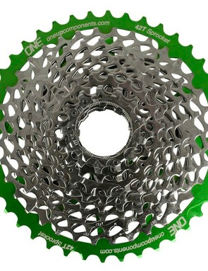 When installed, the cog extends the range of a 10-speed cassette to 11-13-15-19-21-24-28-32-36-42