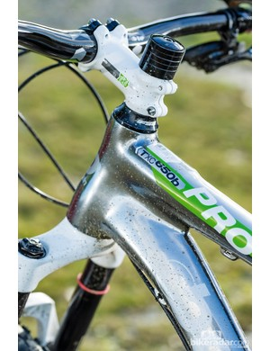 Boardman Pro FS: The triple-butted frame is reasonably light, stiff and very well-detailed. The gloss raw alloy finish makes scuffs and scratches much less obvious