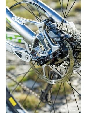 Boardman Pro FS: The Elixir 7 brakes have the more subtle four-pot Trail callipers
