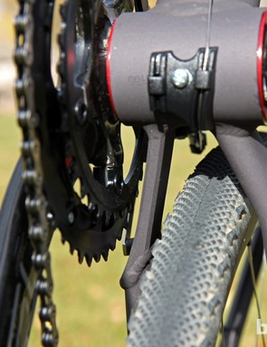A short machined section on the driveside chain stay creates better clearance for the tire and chainrings