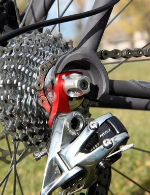 The red anodized rear derailleur hanger is a nice visual touch. It's a high-quality machined piece, too, instead of cheaper cast units more often found on production bikes