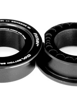 The BioCentric II eccentric bottom bracket can be swapped our for Niner's CYA bottom bracket reducers, allowing the frames to accomodate PressFit 30, BB30, PressFit 92 or a standard threaded bottom bracket (shown here)