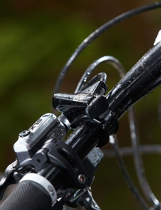 The RockShox fork has a bar-mounted lockout button and is a solid performer