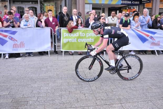Felix English of Rapha-Condor-JLT winning the Nottingham Milk Race in May