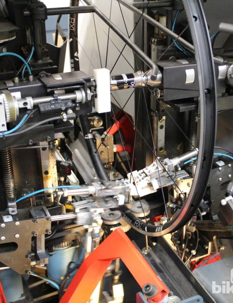Bontrager uses Holland Mechanics machines for much of the initial lacing, stressing and truing