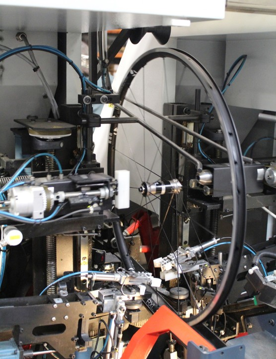 Bontrager's newer Holland Mechanics machine is used for the higher-end wheels