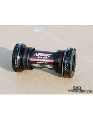 Hawk Racing bottom brackets use proprietary steel cartridge bearings that are remarkably competitive with the best ceramics in terms of friction