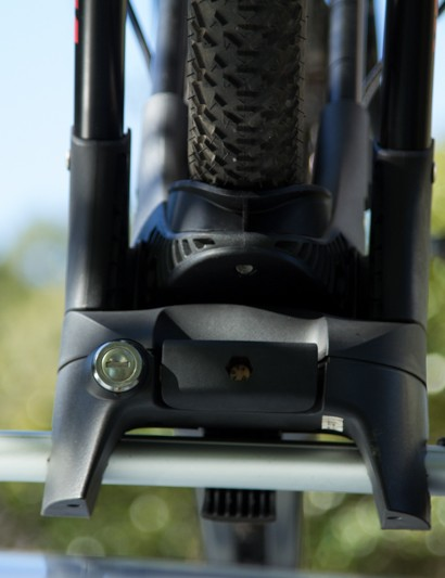 A frontal view of the Yakima FrontLoader - a keyed lock allows the rack to be locked directly to the crossbar