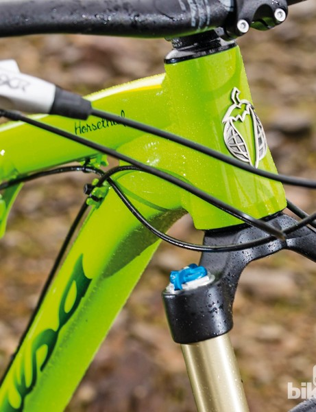 The 68.1 head angle is effectively slackened by the longer fork offset that the frame is designed for