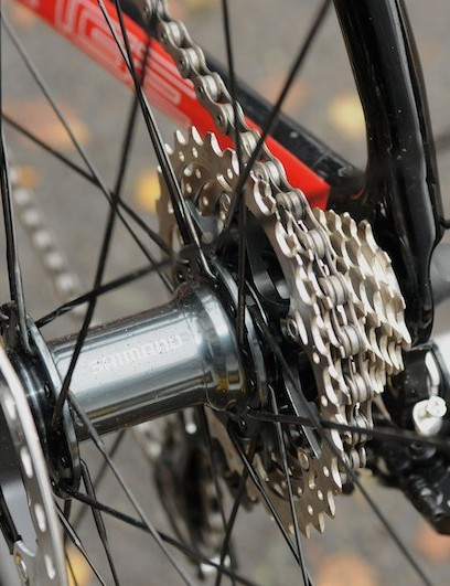 The increased 135mm dropout spacing of disc-equipped bikes is essential to allow for the disc rotor and caliper