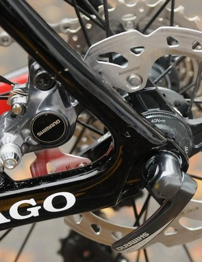 Colnago's Prestige disc machine has a neat rear caliper placement between the chain and seat stays