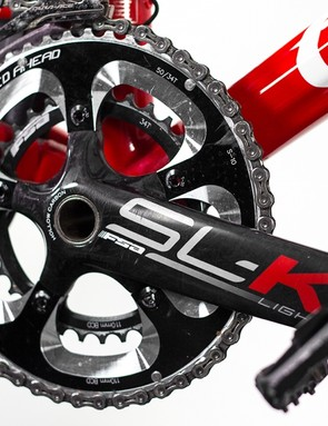 FSA's SL-K crankset is complete with hollow carbon crank arms to minimise weight