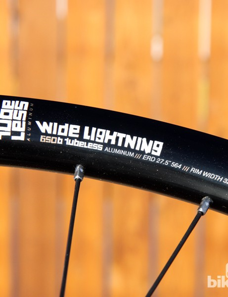 Alloy nipples and an ultra-thin aluminium extrusion help keep the weight down on American Classic's new Wide Lightning 27.5 wheels