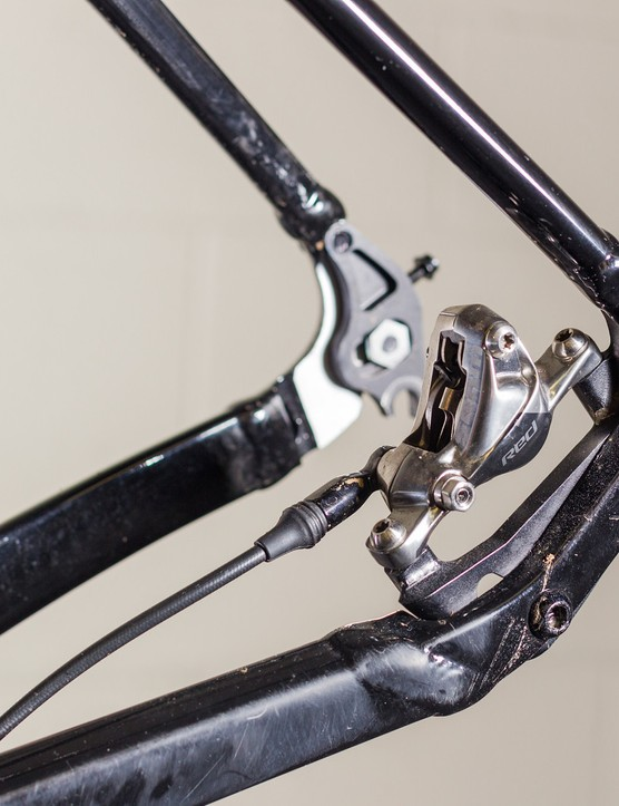 Tooling marks are visible on the caliper mount of Adam Craig's prototype Giant TCX SLR singlespeed. A production bike is more likely to feature forged construction