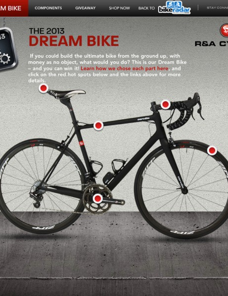 A Cervélo RCA frameset forms the basis of our 2013 Dream Bike