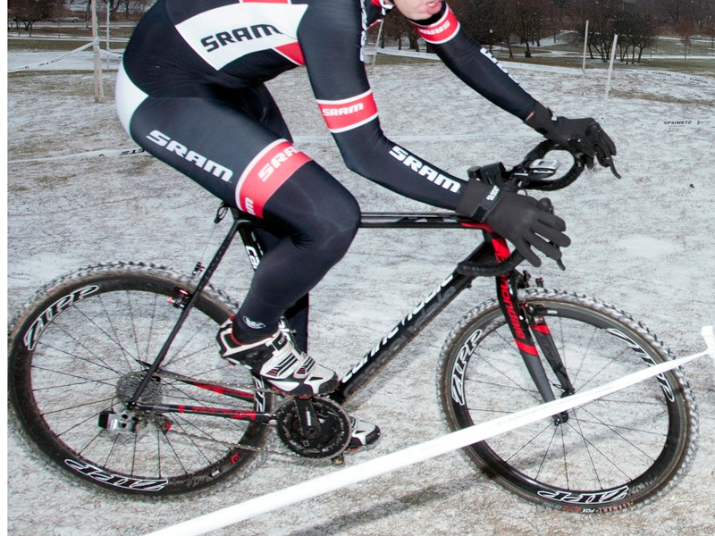 SRAM's new electronic group was spotted under company employee Mike Henne during last weekend's Illinois state cyclocross championship
