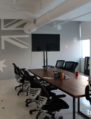 Strava's headquarters are painted primarily in two tones - white and orange