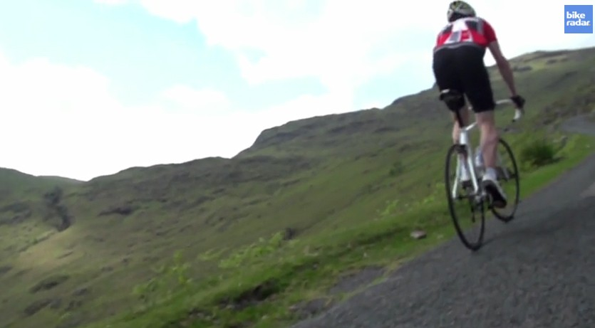 Cycling Plus editor, Rob Spedding, suffering on Wrynose Pass in the Lakes