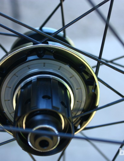 The Easton EA90 SLX Echo rear hub has an inverted ring/pawl configuration