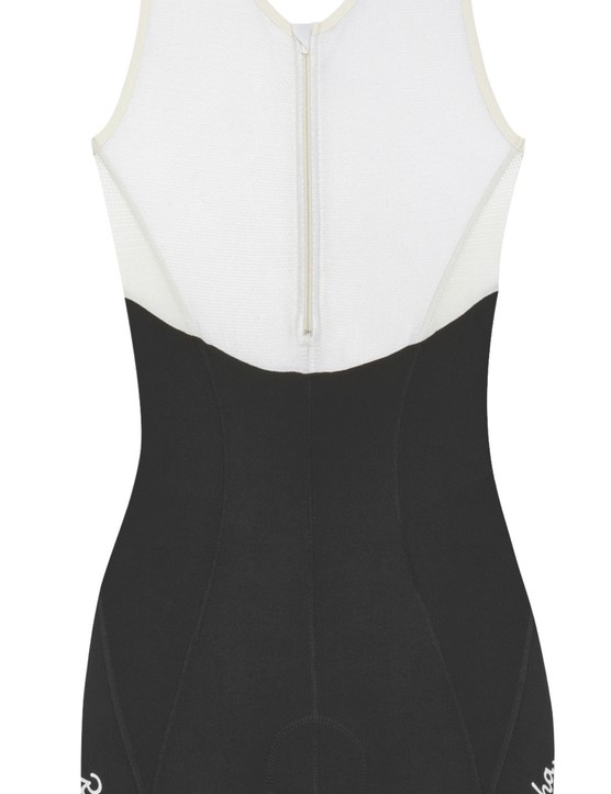 Rapha uses a built-in baselayer with a zipper in place of traditional bib straps