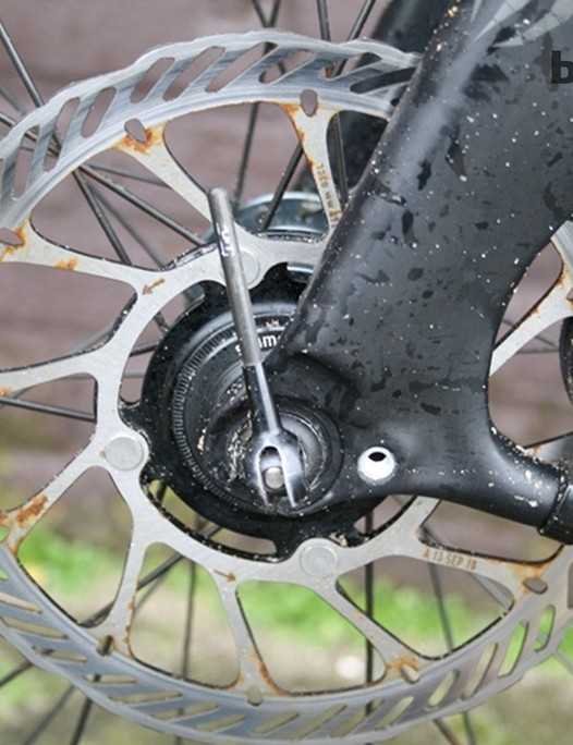 Bekkink's bike is fitted with Shimano's hydraulic road disc brakes