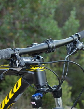 The 680mm wide handlebars are a great width for the bike's purpose, our sample came fitted with narrow 640mm bars (pictured) which we quickly swapped