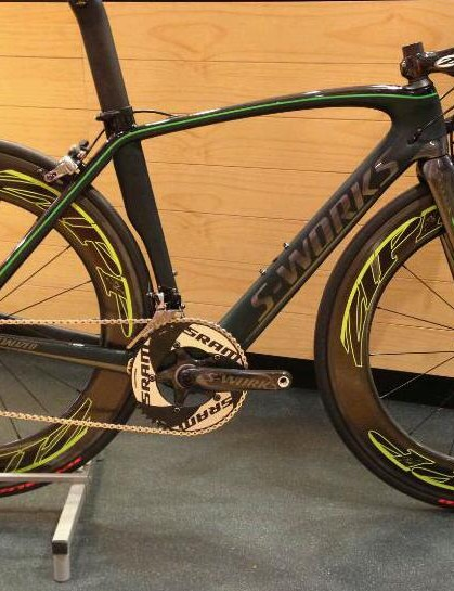 Paul Dolbear's replica of Mark Cavendish's Specialized Venge with recalled SRAM hydraulic road rim brakes