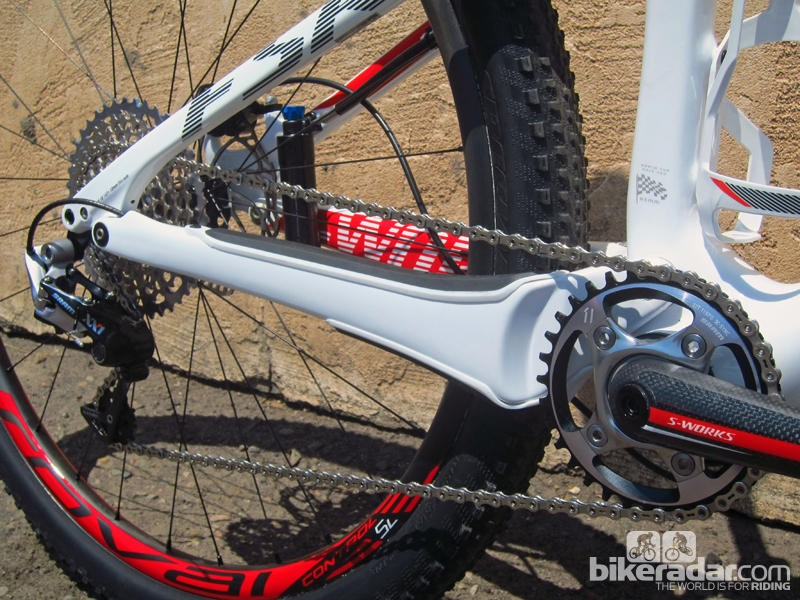 A sign of things to come: the 2014 Specialized Epic World Cup can't run a front derailleur, as its massive chainstays take up most of the available real estate. It is one of a growing number of frames designed without regard to front derailleur placement