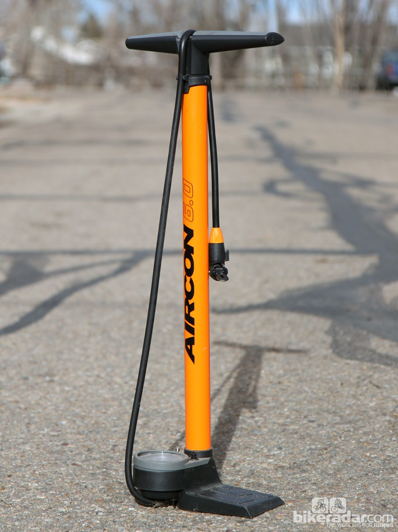 The SKS Aircon 6.0 floor pump puts out a high-volume blast that's great for seating tubeless tires