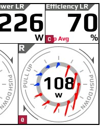 Pioneer's defining feature is captured in this screen: right and left power are visually shown for relative force and direction at 12 points
