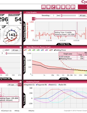 For each recorded ride, users can scroll through and observe how and where power is applied on the cranks: for each recorded ride, users can scroll through and observe how and where power is applied on the cranks  Pioneer's Cyclo-Sphere software offers detailed analysis centering on the not only left/right power but also its directional application. Unfortunately our test sample began to drift in one then the other crank's directional measurement