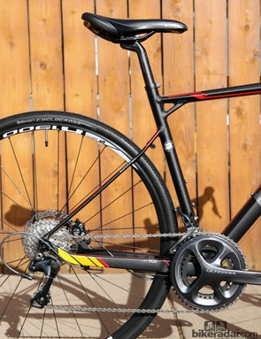 The BMC GF02 uses some of the smallest seatstays we've seen on an aluminium frame