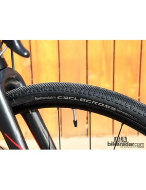 Continental Cyclocross Speed tyres come stock on the BMC GF02 but there's (just enough) room for proper 'cross racing tyres if you're so inclined