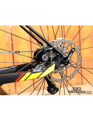 Shimano disc brakes are fitted front and rear on the BMC GF02