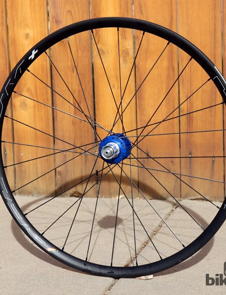 The Chris King Alloy Ride Disc wheelset uses the company's R45 Disc hubs and HED Belgium Plus rims, all laced together with Sapim CX-Ray bladed stainless steel spokes