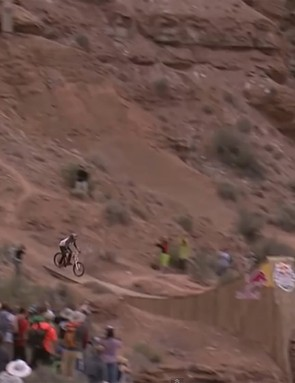 Kelly McGarry's 72ft backflip over the canyon gap at the 2013 Red Bull Rampage