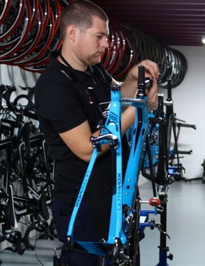 Meanwhile - mechanic, Dennis Kreder gets to work on one of the training bikes