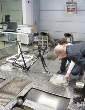 The McLaren AT team have built a chassis rig at McLarens HQ to simulate road conditions