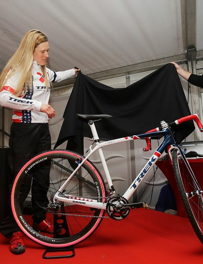 Katie Compton's new Trek Boone is covered in a red, white, and blue paint scheme to celebrate her status as current US national champion
