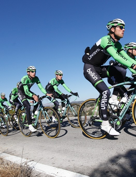The Belkin squad on their Bianchi bikes
