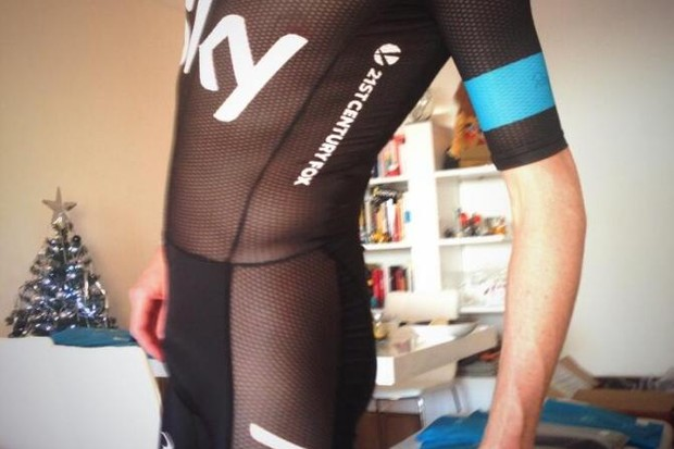 Chris Froome models the new see-through Rapha skinsuit