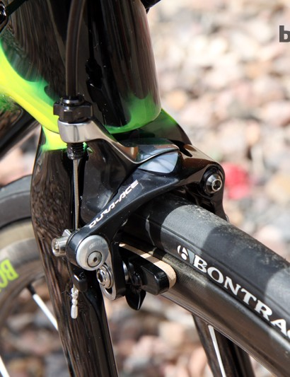 Once again, the Trek Madone 7-Series uses Shimano's direct mount brake standard. The Dura-Ace calipers work far, far better than the Bontrager ones we tried earlier this year