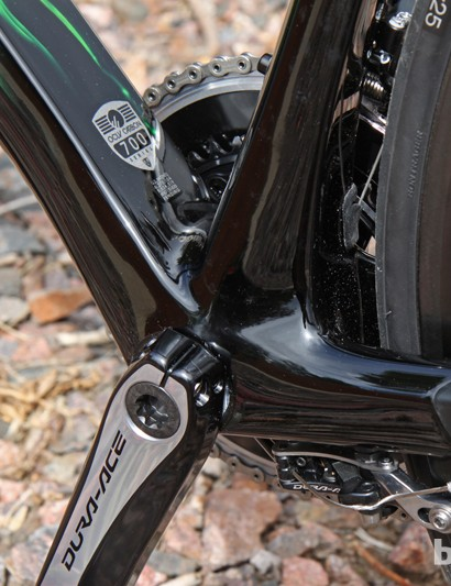 There's a lot of width and carbon fiber in the bottom bracket area on the 2014 Trek Madone 7-Series, but it still feels a bit softer under power than some other flagship machines we've ridden