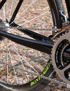 The driveside chain stay incorporates a noticeable step as it approaches the dropout