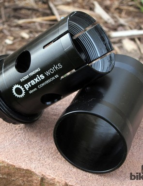 The unique collet design of the Praxis conversion bottom bracket virtually eliminates the possibility of creaking by expanding outward against the inside of the frame as it's tightened, firmly securing it in place